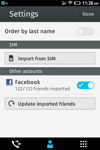 Настройки контактов на ZTE Open на Firefox OS