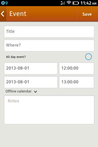 Календарь на ZTE Open на Firefox OS