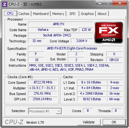 Процессор AMD FX-8370 обновил рекорд на частоте 8722,78 МГц