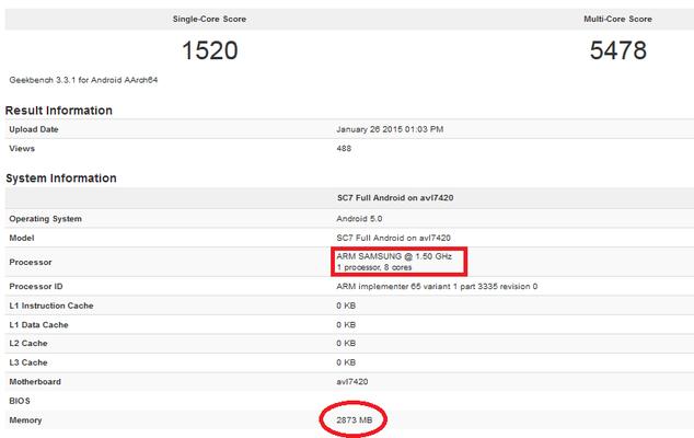 ������������� Samsung Exynos 7420 ������� ������� � ��������� Geekbench 3
