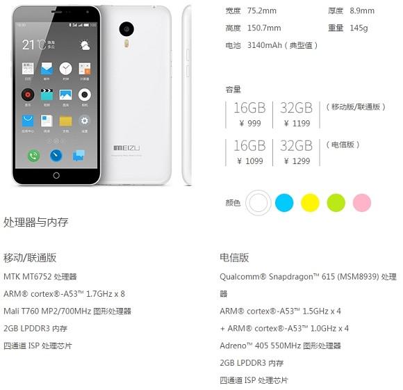 Meizu обновила фаблет m1 note чипсетом Snapdragon 615