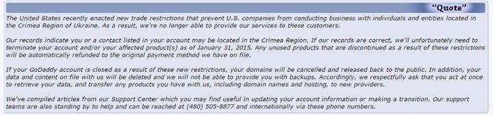Регистраторы GoDaddy и 101domain закрывают аккаунты крымских пользователей
