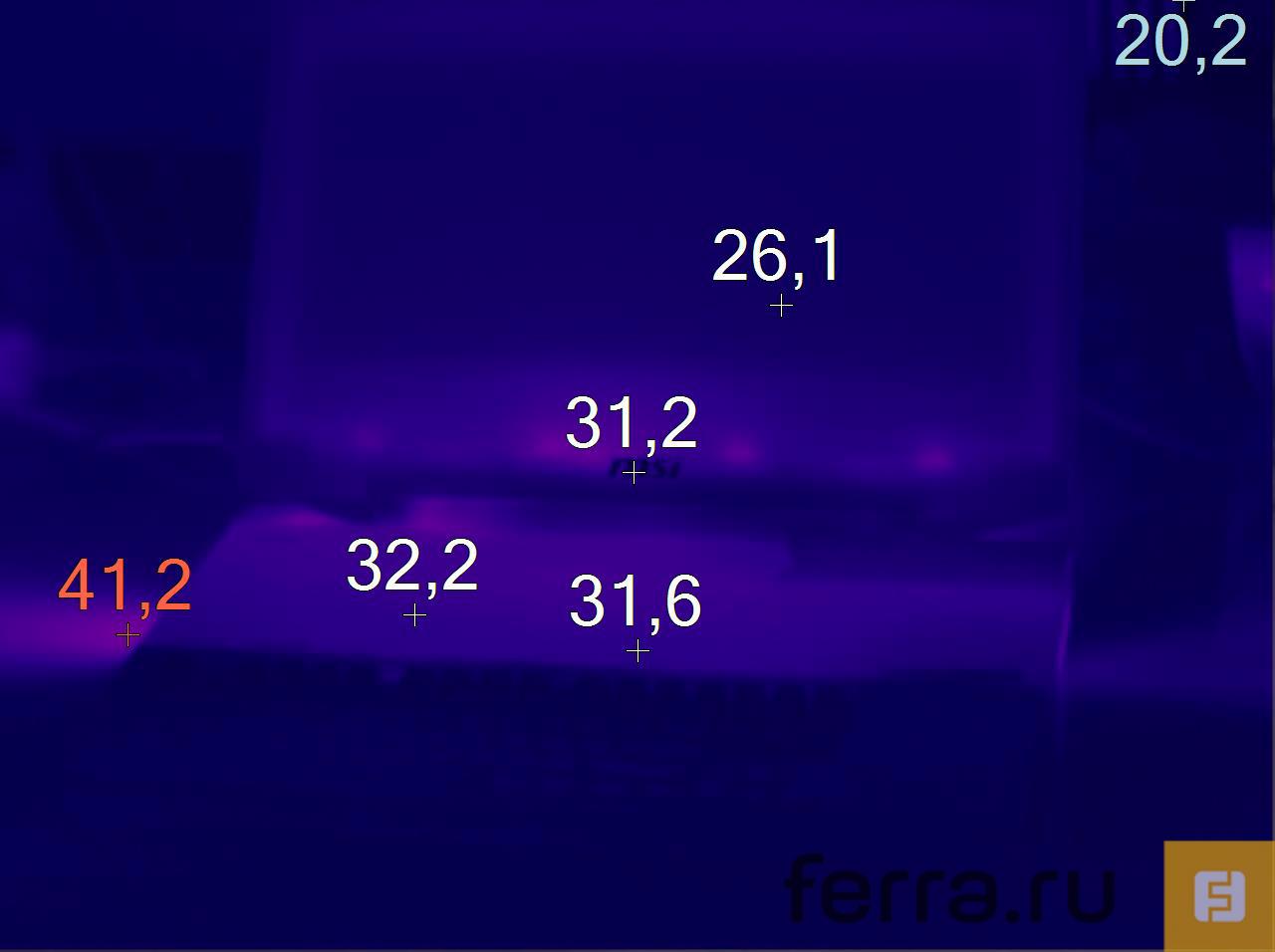 Температура корпуса MSI GT80 2QE Titan SLI после трёх часов игры в Battlefield 4 с включенной функцией Cooler Boost