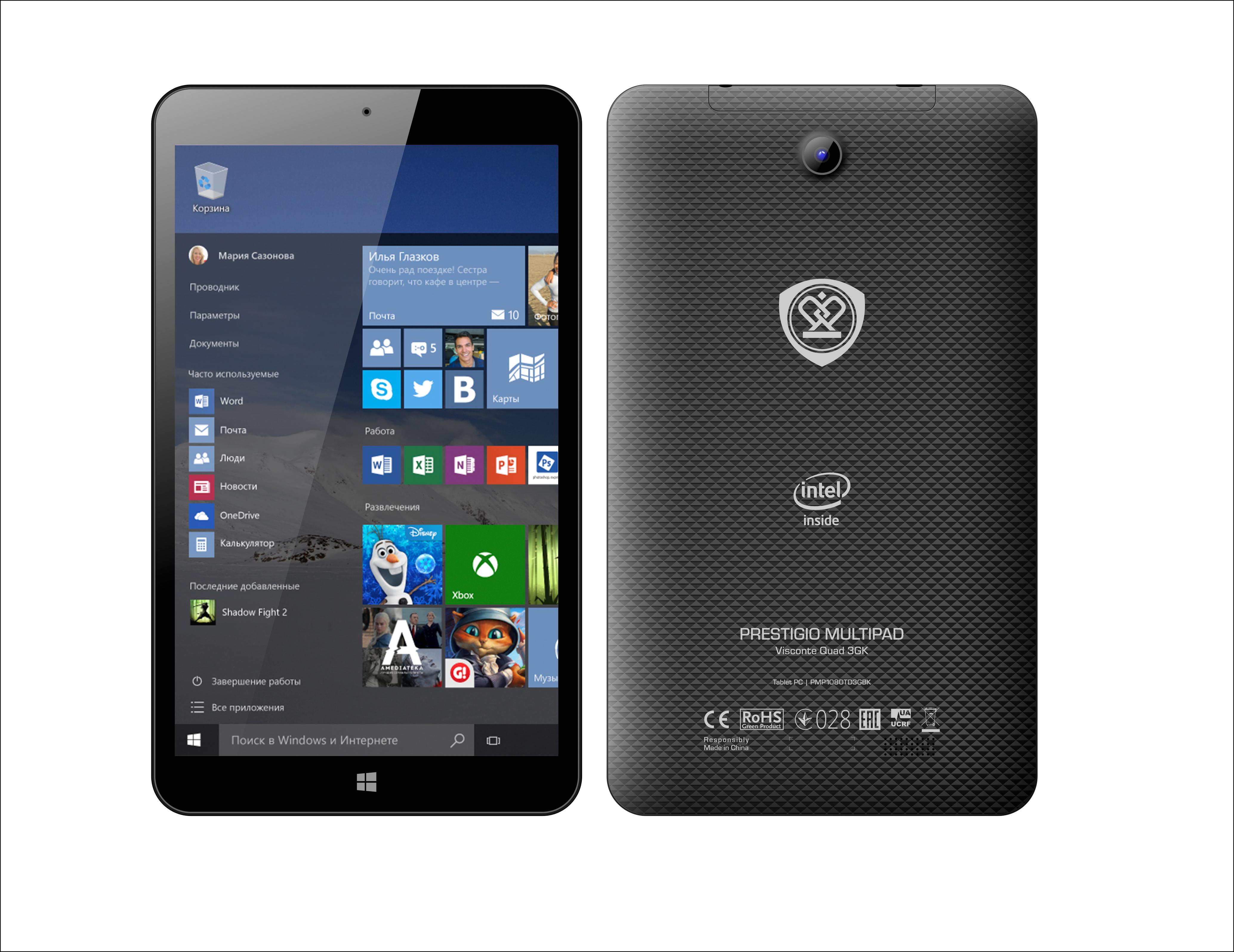 Планшет Prestigio Multipad Visconte Quad 3GK на базе Windows 10 доступен за  6990 рублей