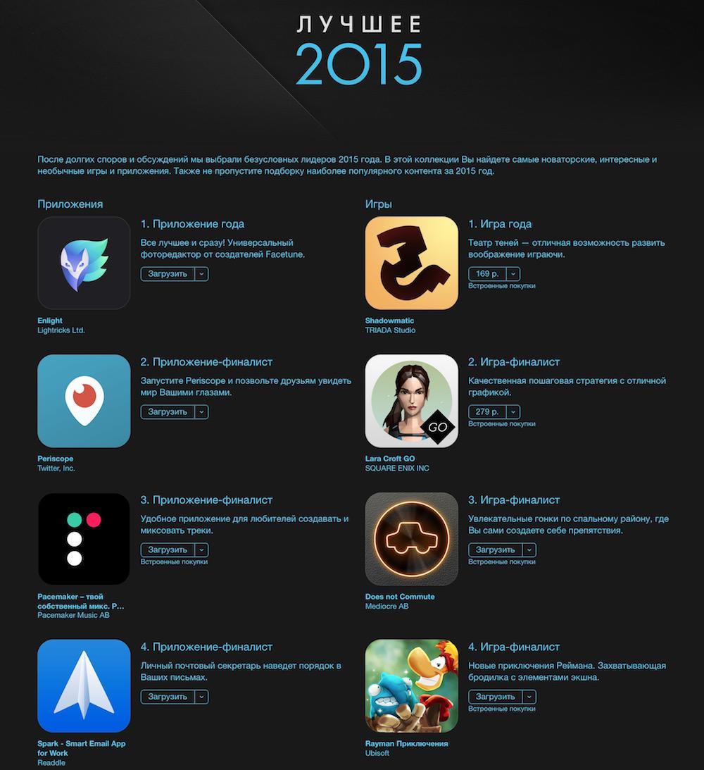 Apple назвала лучшие приложения App Store за 2015 год в России