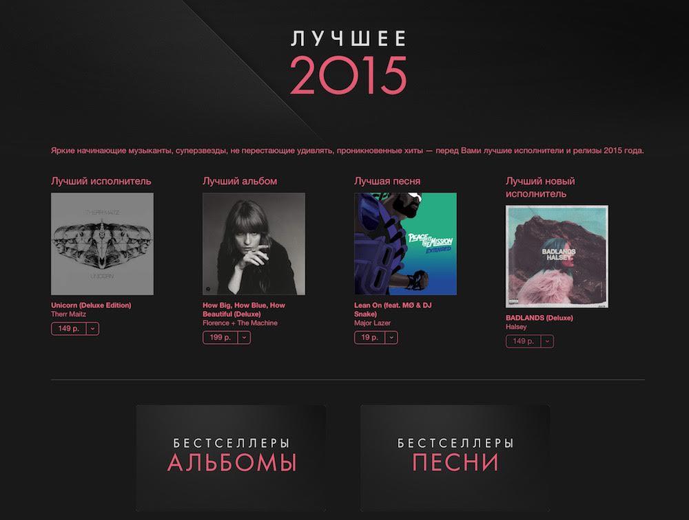 Apple назвала самую популярную музыку в iTunes за 2015 год в России