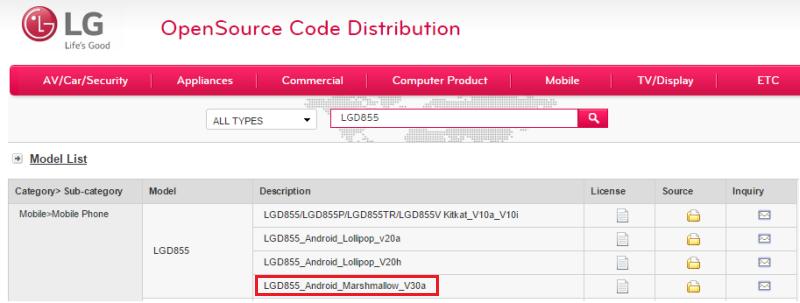 LG опубликовала исходный код Android 6.0 Marshmallow для G3