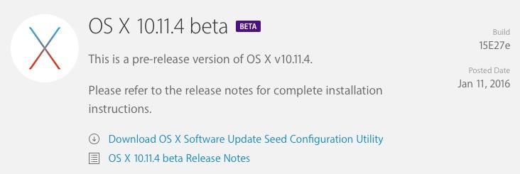 Apple выпустила первую бета-версию OS X 10.11.4 El Capitan