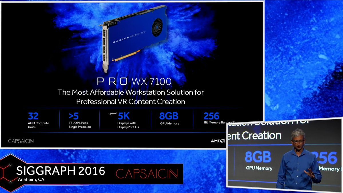 AMD представила серию видеокарт Radeon Pro WX на замену FirePro