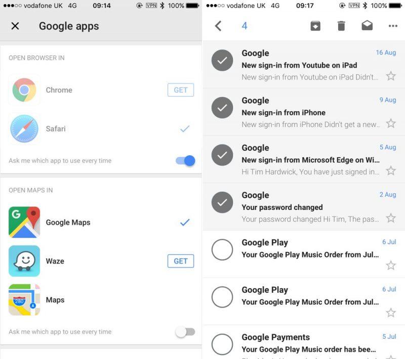 Gmail для iOS разрешил указать браузер по умолчанию