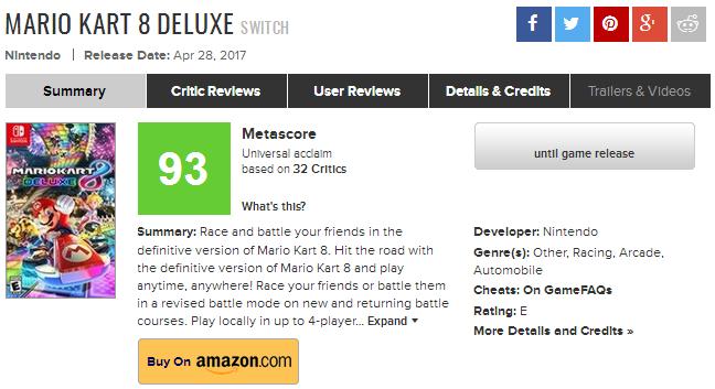 Mario Kart 8 Deluxe получает оценки
