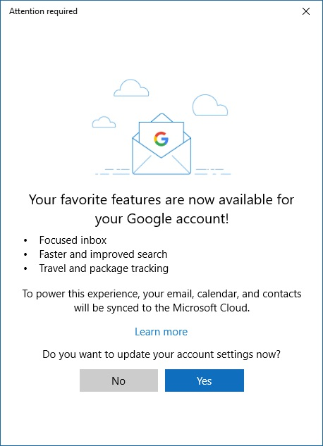 Gmail получает дополнительные возможности в Почте и Календаре Windows 10