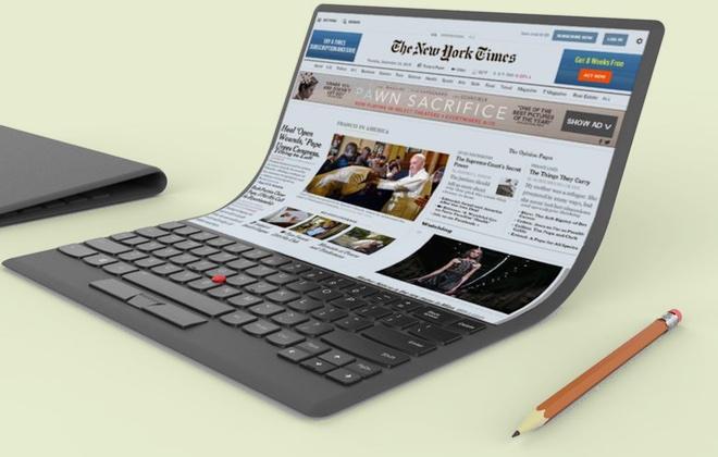 Lenovo показала концепт ноутбука с гибким экраном