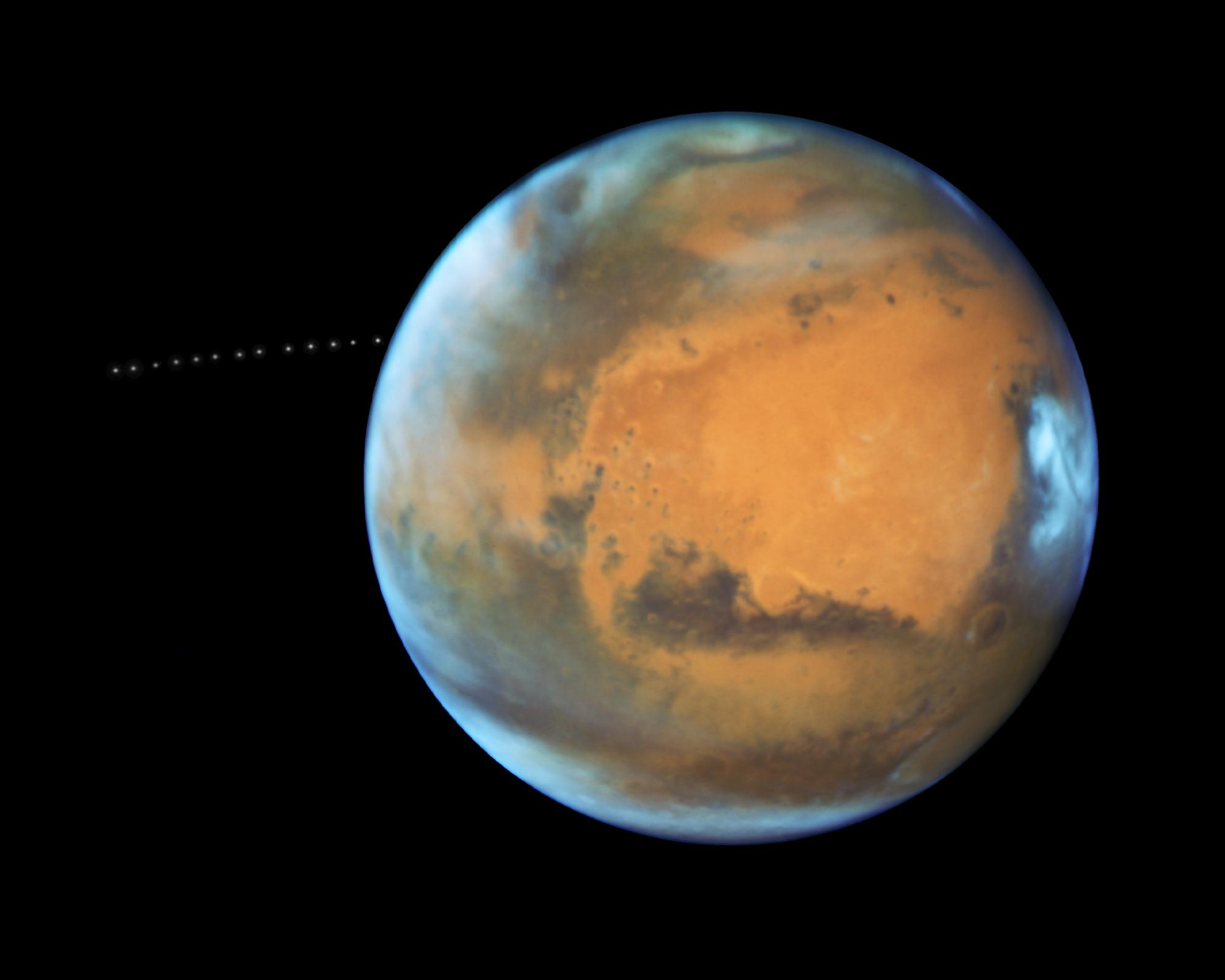 «Хаббл» показал вращающийся вокруг Марса Фобос