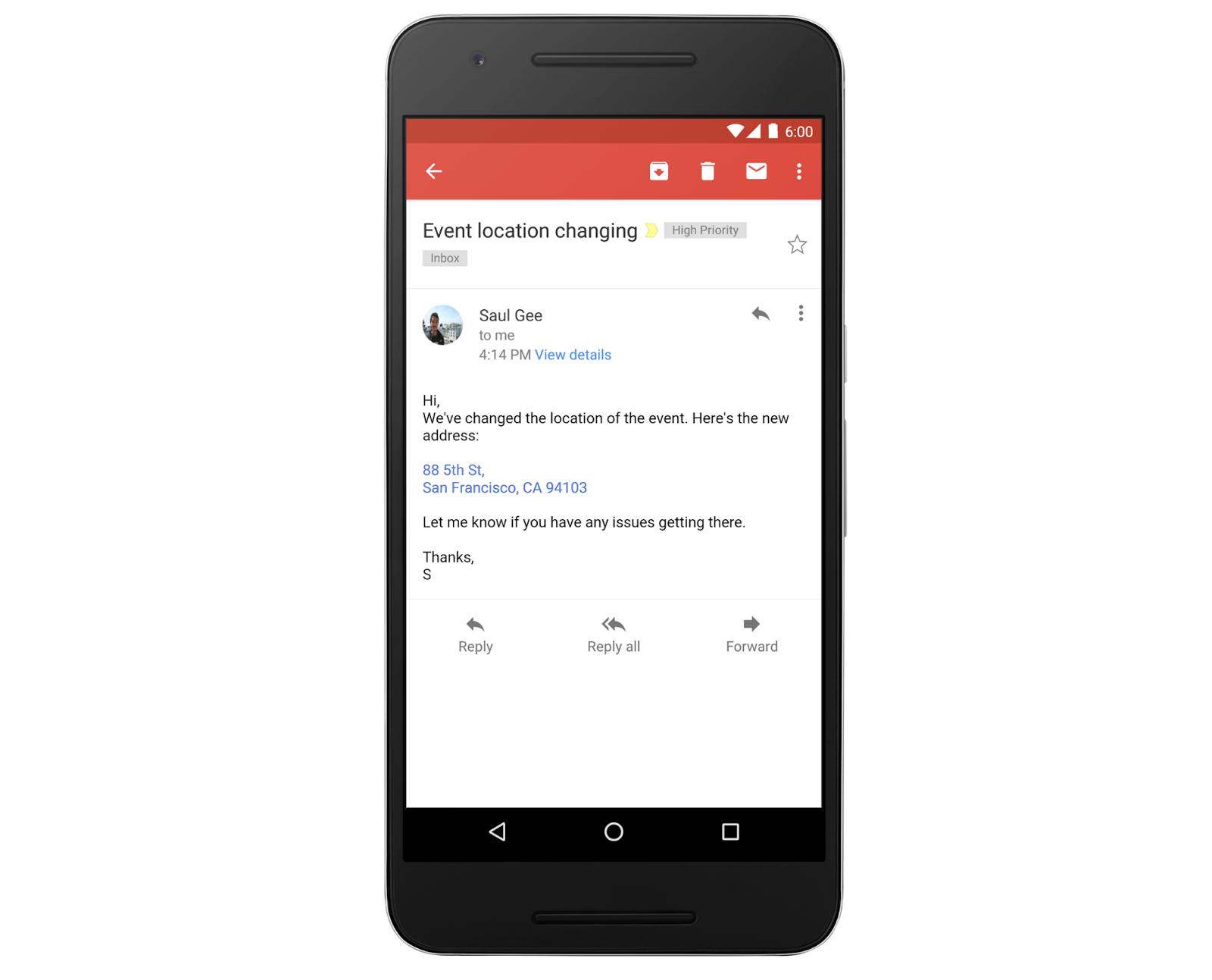 Google научил Gmail превращать адреса и телефоны в ссылки