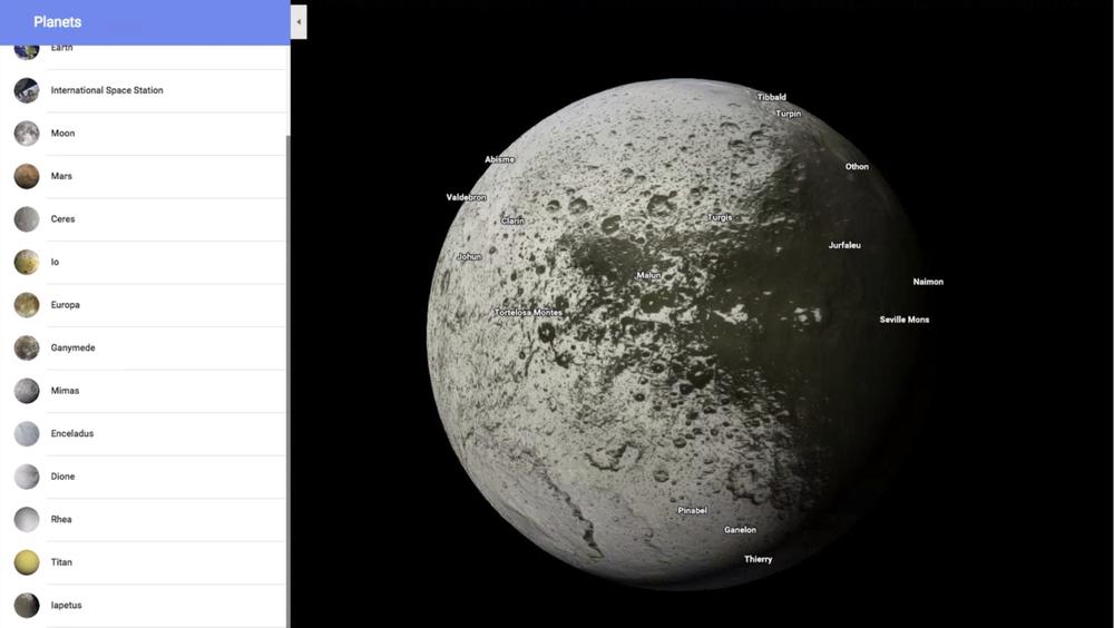 Google запустила Карты планет и спутников Солнечной системы