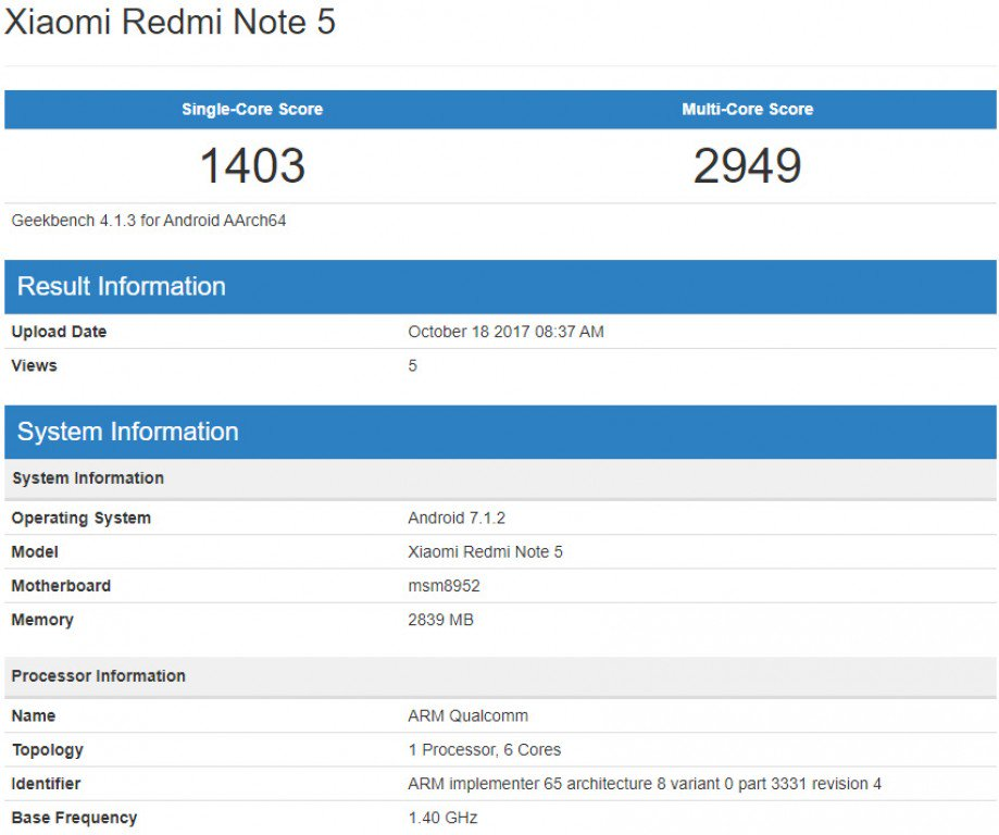 Xiaomi Redmi Note 5 засветился в бенчмарке