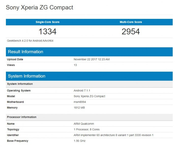 Загадочный Sony Xperia ZG Compact засветился в бенчмарке
