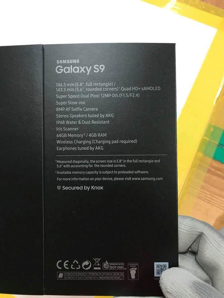 Розничная упаковка рассекретила характеристики флагманского Samsung Galaxy S9
