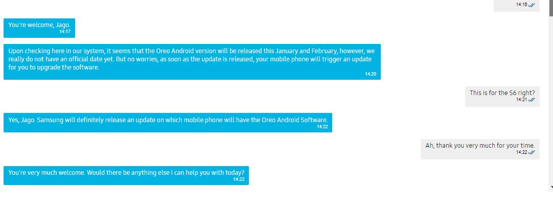 Samsung Galaxy S6 обновится до Android Oreo в феврале