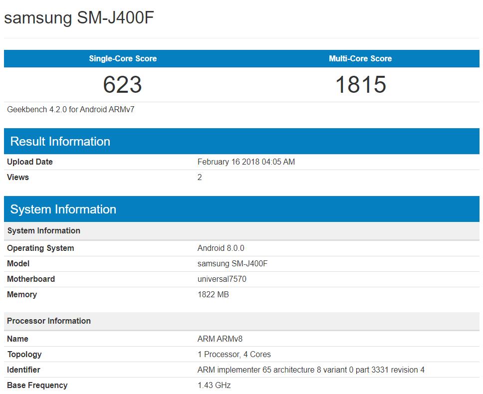 Бюджетный смартфон Samsung Galaxy J4 засветился в бенчмарке