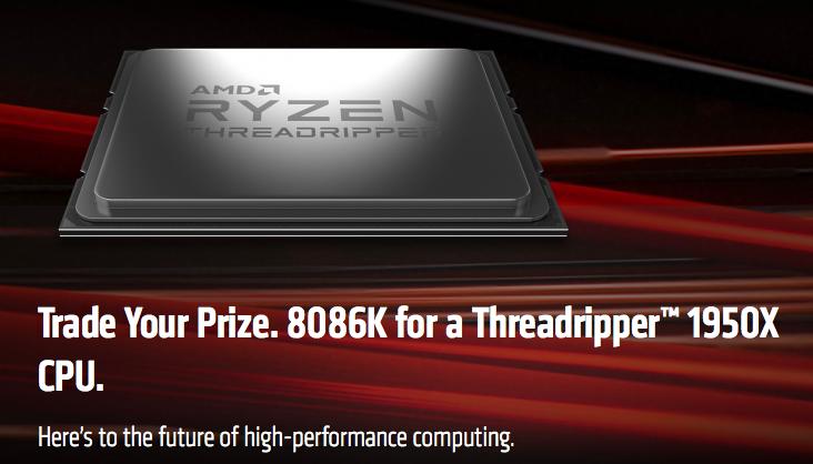 AMD меняет юбилейный процессор Intel на 16-ядерный Threadripper 1950X