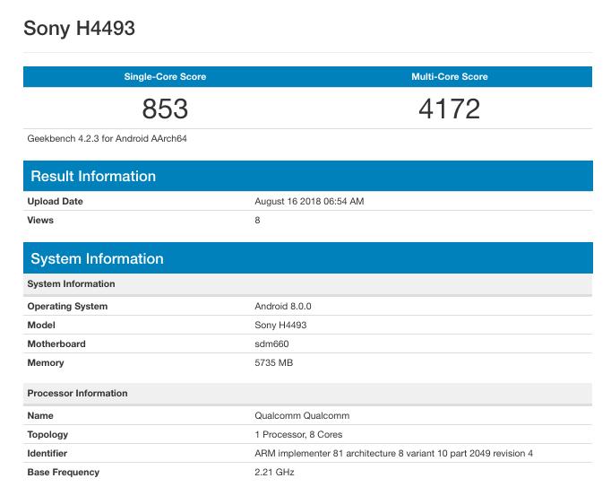 Смартфон Sony Xperia XA3 засветился в бенчмарке