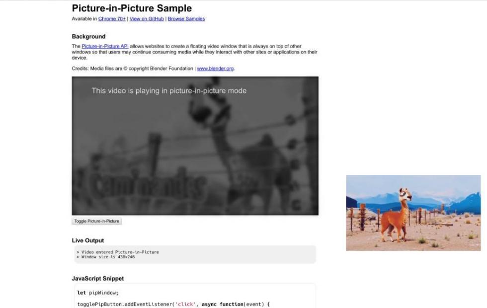 Браузер Chrome получил поддержку функции «картинка-в картинке»