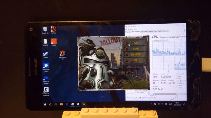 Хакер запустил полноценную Windows 10 и игру Fallout на смартфоне