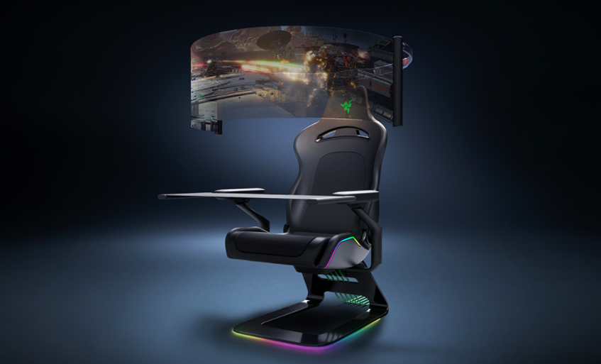 Razer показала игровое кресло будущего с огромным OLED-дисплеем и RGB-подсветкой