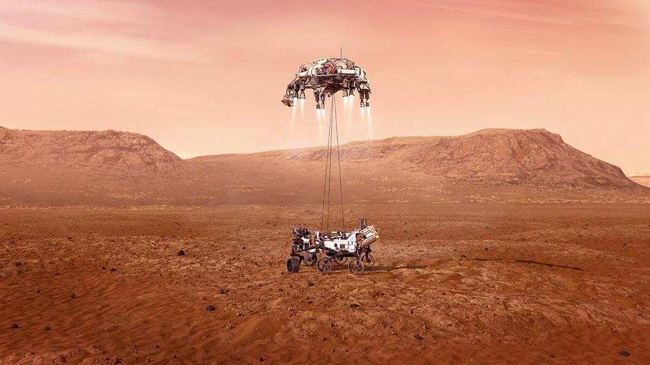 NASA опубликовало видео с посадкой нового марсохода на поверхность Красной планеты