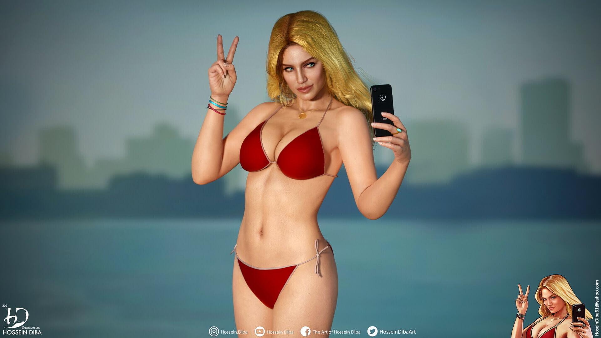 Опубликовано фото реалистичной версии девушки с обложки GTA V