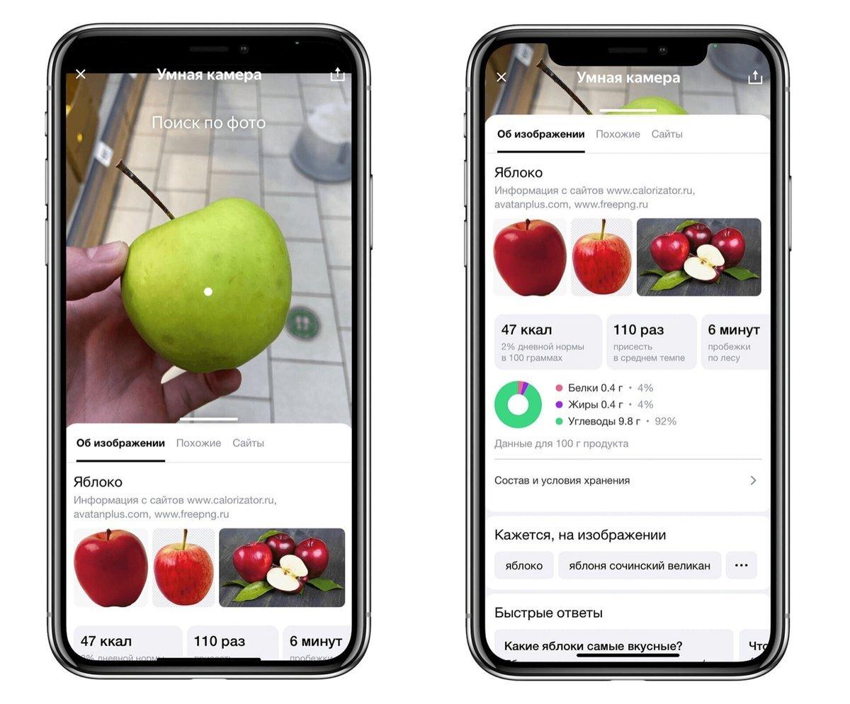 В приложении Яндекс при съёмке еды можно будет узнать количество калорий