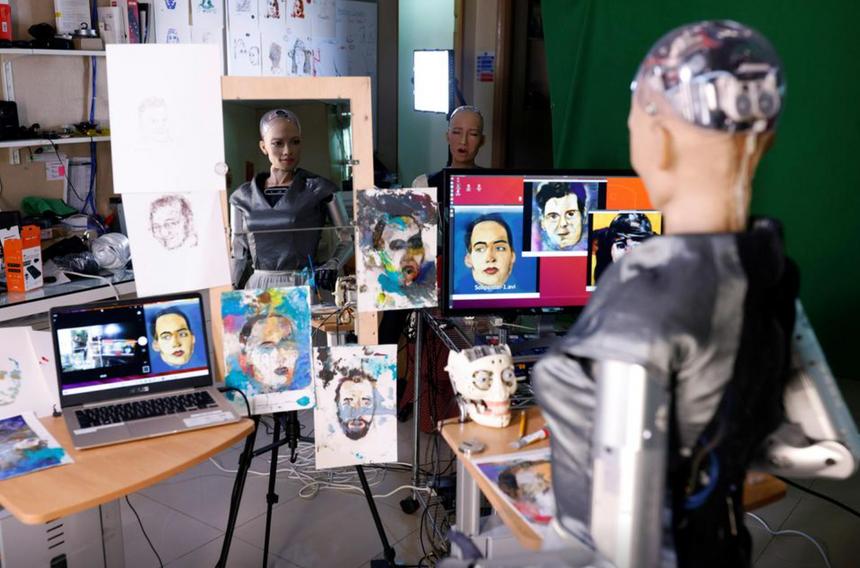 Созданную человекоподобным роботом картину продадут на аукционе